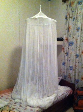 The mosquito net in my room.