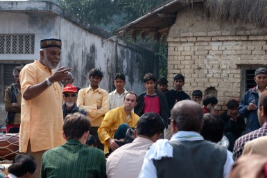 Sunil teaching at a village footwashing event.