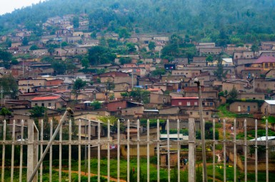 Homes clinging to a Kigali hillside.
