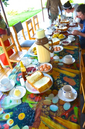 The breakfast table we shared with Pastor Leonard. It sits on the very same ground that once was embroiled in so much hate and violence.