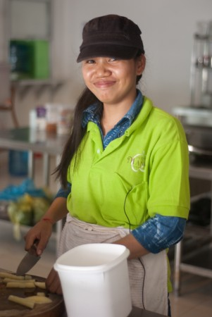 Kunthea's generous and hardworking spirit is obvious to all – she is using her wages to help pay for her sister's tuition.