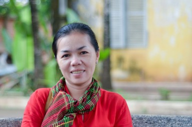 SreyLeak, Kien Svay Kids staff, spends her days interviewing students, teachers and families to determine which kids are struggling and why.