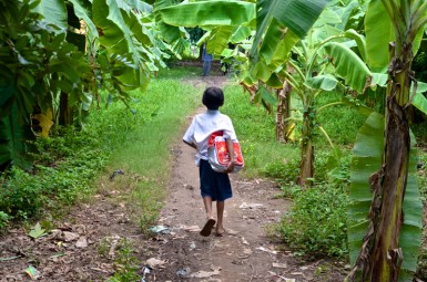A little boy walks home at lunch to his family's farmhouse on the river. He is one of the kids being assessed by CGI whose siblings had died and who was being bullied at school.