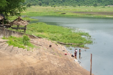 Lakes like these are formed by hand-made dams, a legacy of the forced labor of the Khmer Rouge.