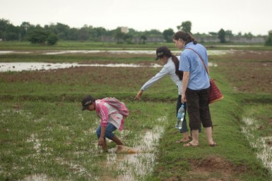The girls and I snail hunting in a rice field. Not something normally associated with girly girls.