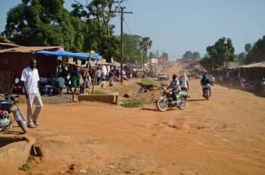 There are no paved roads in the town of Yei.