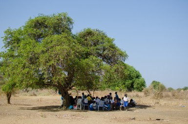 Students are forced to meet under trees to find shade.