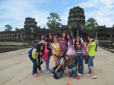 Tasha with some of the Imprint Project girls at Angkor Wat in 2012.