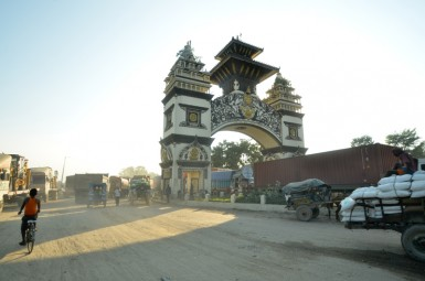The border crossing point between Nepal and India in Birgunj