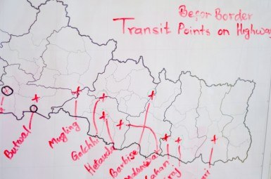 A map of Nepal in the Tiny Hands office detailing transit points for trafficked girls before they reach the border.