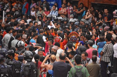 Crowds flood Durbar square during the Indra Jatra celebration