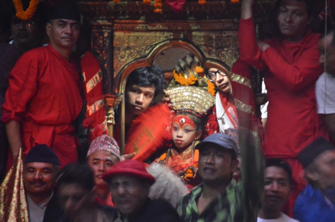 A close-up view of the Kumari on the streets of Kathmandu during the Indra Jatra procession