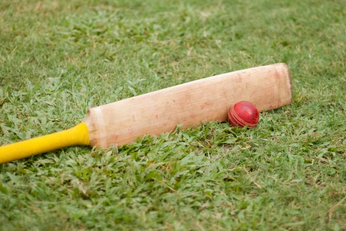 "The most devoted players name their cricket bats. This one's name is ""Amstagh Byphkain"", which translates roughly as ""flat wooden thing I use to hit stuff."" Its owner is not fond of poetry."