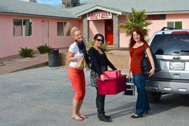 Kristin (left) visiting a brothel with other Cupcake Girls volunteers.