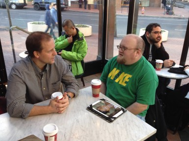 Sitting with Jon Bean (right), the HOPE Campaign coordinator for the MST project