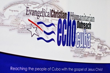 An EchoCuba sign hanging in their office in Miami