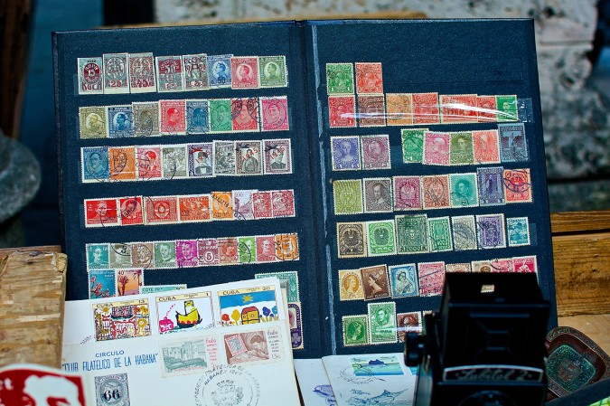 What looks like a casual stamp collection turns out to be a collection of stamps dating as far back as before World War I. Included are stamps from The Republic of German-Austria, Yugoslavia, Russia, Denmark, Luxemburg, New Zealand, Rhodesia (now Zimbabwe), Romania, Australia, and, of course, Cuba.