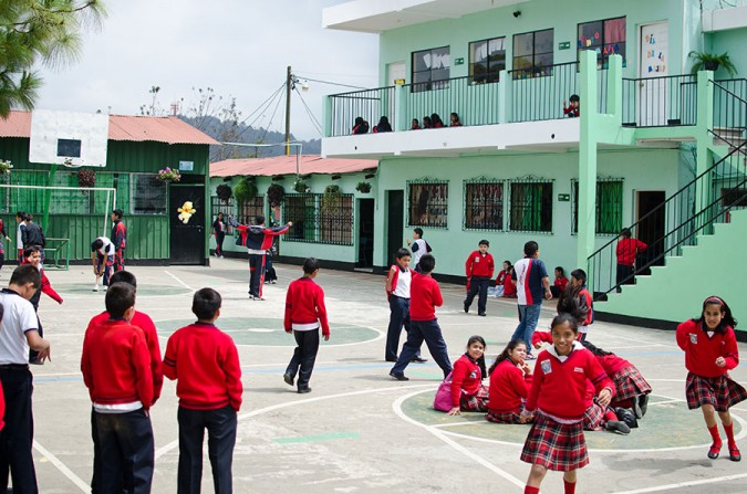 Every day during recess, the kids crowd into the central courtyard to play, eat snacks, and relax.