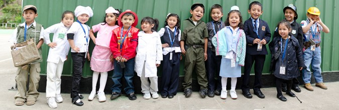 The Saber y Gracia kindergarten class, dressed up for career day. Even at a young age they are taught how to dream for the future.