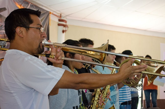 Worship time at Campamento wouldn't be complete without a full brass section blaring full-blast!
