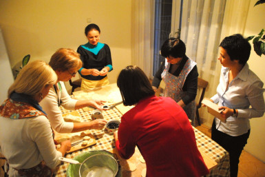 We were welcomed to Ukraine on our first full day with a Veraniki making party!