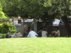 If you look in just about every park or garden in Delhi, you'll see groups of unemployed men and women waiting for work.