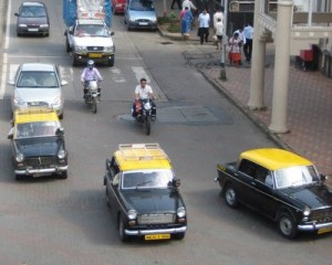 These black and yellow taxis are everywhere in Mumbai.