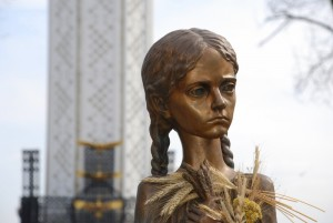 "A statue in Kiev commemorating the country's ""great hunger.""  Many believe the ""famine"" was actually just government mis-management."