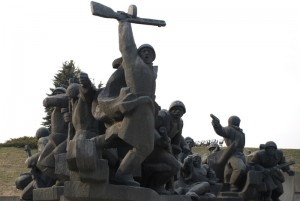 A statue at the War Museum in Kiev.  It's amazing to see images of such power and triumph from a war of such devastation.