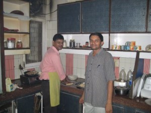 Indresh, our talented cook, with Ulhas in the kitchen preparing dinner.