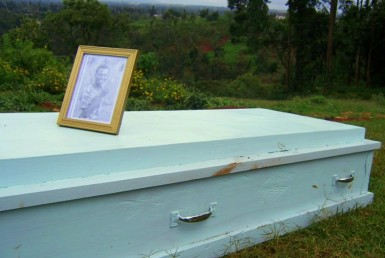 For a homeless man in Kenya, a real coffin is an unbelievable luxury.