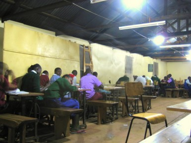 The study group at St. Jerome Church in Kibera.  Not a very exciting picture.  But that's the point.