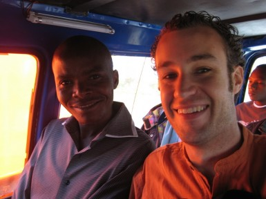 Pastor Fred and I in a matatu.  I'm smiling because I didn't get ripped off this time!
