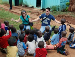 Christine and Scott playing with some kids from Karura.