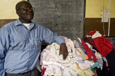 Pastor Fred, ready to hand out the clothes.