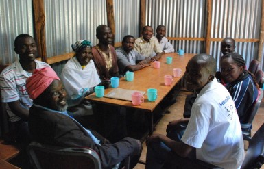 Pastor Fred (bottom right) meeting with a group of pastors from around Kibera.  These are the long-haulers.