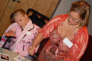 "Special needs children, part of Grace's ""Special Friends"" ministry, helped to make cards for disabled kids in Ukraine."