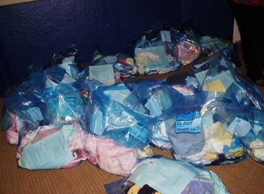 Layette bags for new infants saved from abortion in Ukraine.