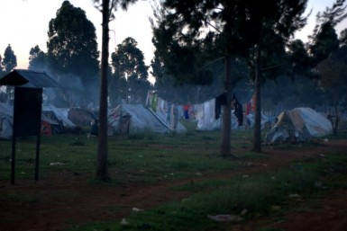 This IDP camp at the Kenya Agricultural Society Showgrounds in Eldoret used to house thousands, but is finally thinning out as families move home.