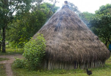 The hut I saw in the morning wreathed in smoke.
