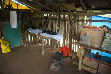 The inside of my hut.  Protection from the rain, but that's about it...