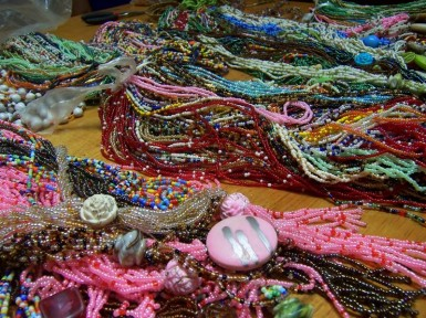 Along with food products, the widows make lots of beautiful jewelry.