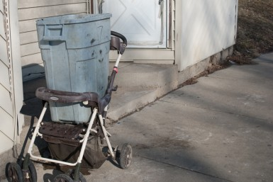 Without a car, transporting food and belongings is very difficult. Improvised carts are a common sight.