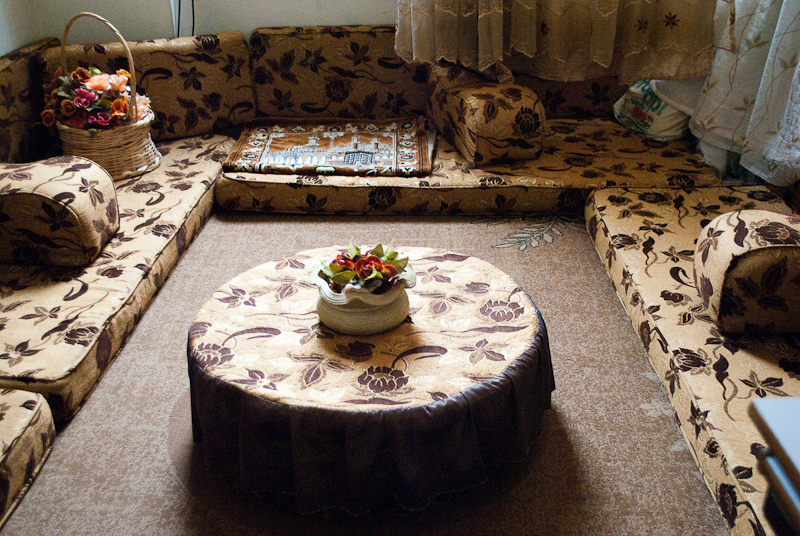 In The Middle East Traditional Way Of Eating Is To Sit Around Floor On Cushions Such As These